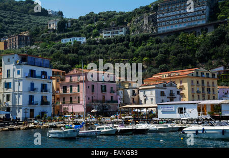 The historic Marina Grande in Sorrento with it's colourful stucco's buildings, fishing boats and yachts. - Stock Photo