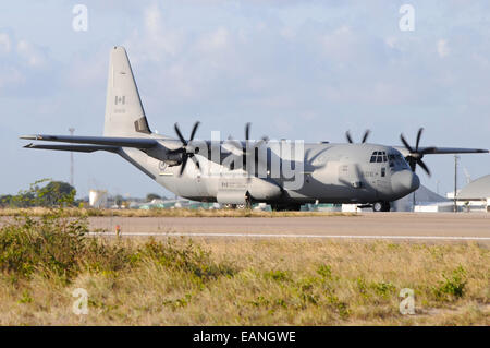 Royal Canadian Air Force CC-130 Super Hercules taxiing at Natal Air Force Base, Brazil, during Exercise Cruzex. - Stock Photo