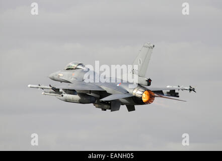 Dutch Air Force F-16AM taking off with full afterburner during NATO TLP, Albacete, Spain. - Stock Photo