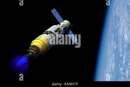 A manned orbital maintenance platform (OMP) docked with a manned reusable crew capsule (RCC) in low Earth orbit - Stock Photo