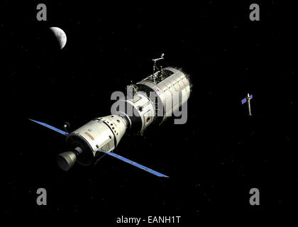 A manned orbital maintenance platform (OMP) approaches NASA's Chandra X-ray Observatory for repair and upgrade. - Stock Photo
