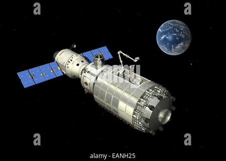 Typical configuration for a manned orbital maintenance platform (OMP) where it is docked with a free-flying crewed - Stock Photo