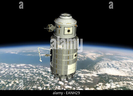 This orbital maintenance platform (OMP) is the artist's conception of a possible solution for providing manned access - Stock Photo