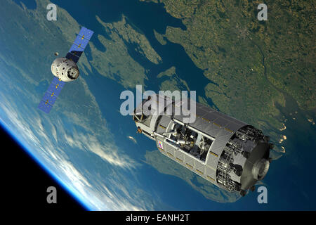 A manned reusable crew capsule (RCC) prepares to dock with an orbital maintenance platform (OMP) in low Earth orbit. - Stock Photo