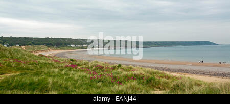 Sandy beach, wide bay with emerald grass & red wildflowers on low dunes & beachfront houses of Port Eynon in distance, - Stock Photo