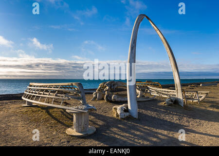 Bowhead Whale Jaw Bone Arch With Wooden Umiak Frames (Whale Hunting Boats) At Barrow, Alaska. - Stock Photo
