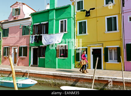 Houses on the island of Burano, near Venice on 27/2/2012 - Stock Photo