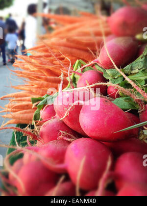 Radishes and carrots bunch in a farmers market stand - Stock Photo