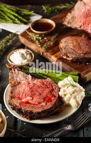 Homemade Grass Fed Prime Rib Roast with Herbs and Spices - Stock Photo