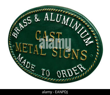 Cast Metal sign for selling custom signage for a new business or home a great example of lettering and decorative - Stock Photo