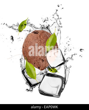 Coconut with ice cubes, isolated on white background - Stock Photo