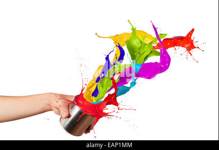 Colored paint splashes splashing out of can isolated on white background - Stock Photo