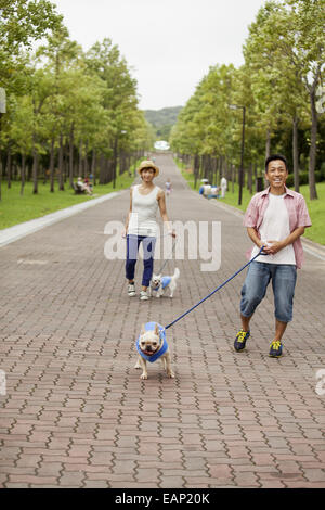 Couple walking two dogs on a paved path. - Stock Photo