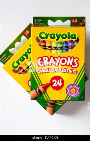 Boxes of 24 Crayola crayons set on white background Stock Photo