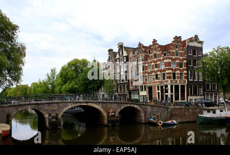 Bridge and monumental old houses where Prinsengracht meets Brouwersgracht canal in Amsterdam, The Netherlands - Stock Photo