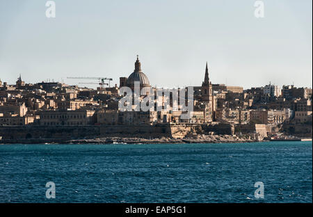 Kalkara, Malta, from the sea - at the entrance to the Grand Harbour, opposite Valletta - Stock Photo