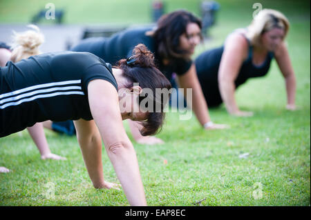 White middle-aged women doing push-ups in a public park in a summer morning boot camp keeping fit before going to - Stock Photo