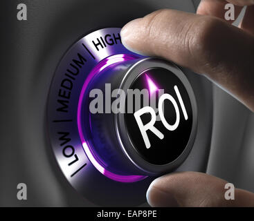 Return on Investment, ROI Concept, two fingers turning button in the highest position. Conceptual image - Stock Photo