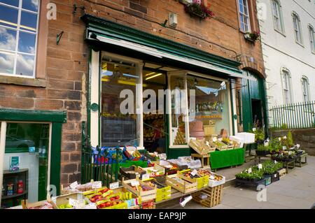 Traditional grocers shop in market town of Appleby-in-Westmorland, Cumbria, England, United Kingdom. - Stock Photo