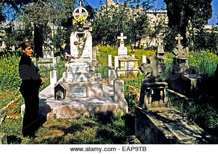 The Armenian Catholic cemetery of Aleppo, Syria. - Stock Photo