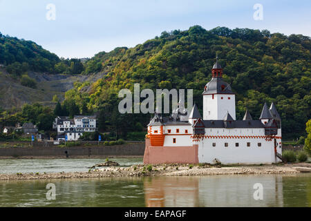 Pfalzgrafenstein castle 1327 on Die Pfalz island in River Rhine, Kaub, Rhineland-Palatinate, Germany, Europe. - Stock Photo