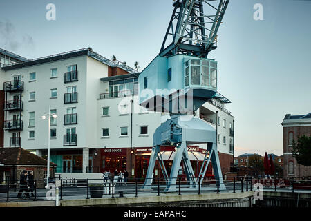 Dock crane at Gunwharf Quays, Portsmouth - Stock Photo