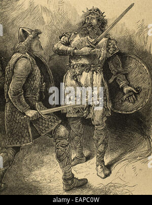 William Shakespeare (1564-1616). English poet. The Tragedy of Macbeth. Macbeth with Macduff. Engraving oby J. Quartley (1886).