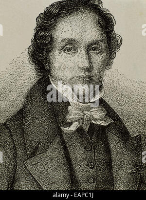 Jean-François Casimir Delavigne (1793-1843). French poet and dramatist. Portrait. Engraving. 19th century. - Stock Photo