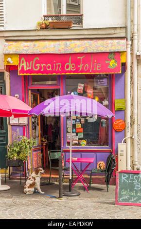 vegetarian restaurant au grain de la folie in the montmartre district, paris, ile de france, france - Stock Photo