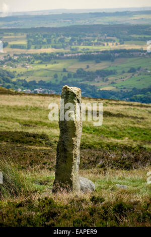 Standing stone Churn Milk Joan on the Calderdale Way, Yorkshire - Stock Photo