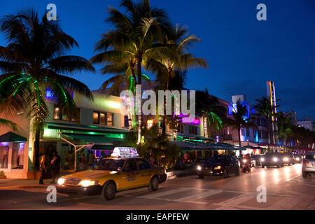 Art Deco buildings. Miami Beach, Florida - Stock Photo
