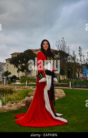 Gibraltar. 19th November, 2014. Miss Gibraltar 2014 Shyanne Azzopardi showed off at the Commonwealth Park in Gibraltar - Stock Photo