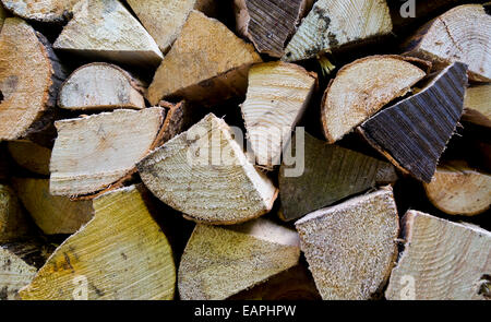 Detail of a pile of logs chopped up ready to be burnt on a fire or a log burning stove - Stock Photo