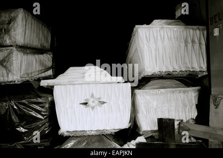 Coffin maker undertaker business in Yogyakarta in Java in Indonesia in Southeast Asia Far East. Undertaking Travel - Stock Photo