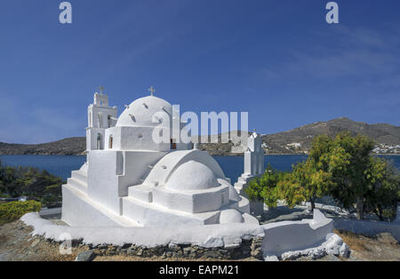 Agia Irini (Saint Irene) one of most beautiful churches of Ios island, situated at the harbour of Ormos, Cyclades, - Stock Photo