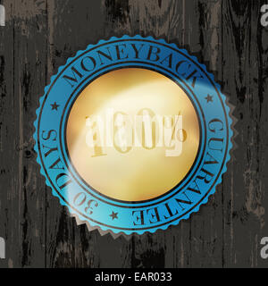 Moneyback Guaranteed Label with Gold Badge Sign on Wooden Texture - Stock Photo