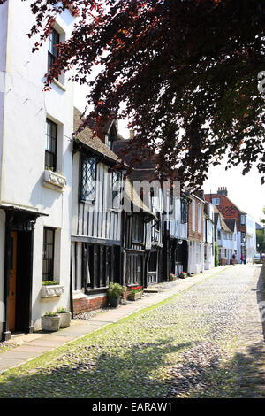 Cobbled street of Church Square, Rye, East Sussex, England - Stock Photo