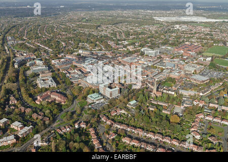 An aerial view of the centre of Solihull, a town in the West Midlands - Stock Photo