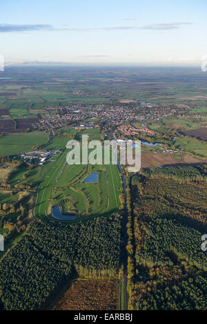 An aerial view of the race course at Market Rasen with the town visible behind - Stock Photo