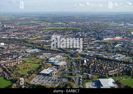 A wide aerial view looking towards the centre of the South Yorkshire town of Doncaster - Stock Photo
