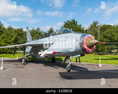 English Electric Lightning F6 British fighter interceptor aircraft  on display at the Yorkshire Air Museum Elvington - Stock Photo
