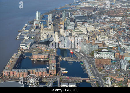 An aerial view of Liverpool City Centre and the River Mersey - Stock Photo
