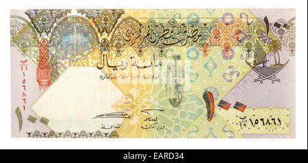 100 Qatari Riyals, banknote, back, Qatar - Stock Photo