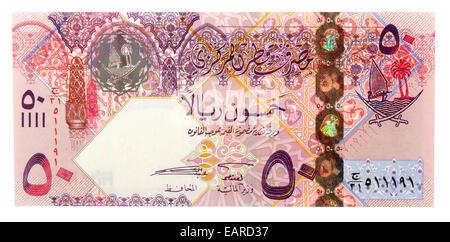 50 Qatari Riyals, banknote, back, Qatar - Stock Photo