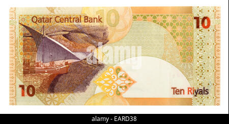 10 Qatari Riyals, banknote, front, Qatar - Stock Photo