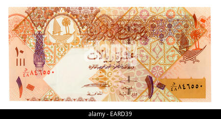 10 Qatari Riyals, banknote, back, Qatar - Stock Photo