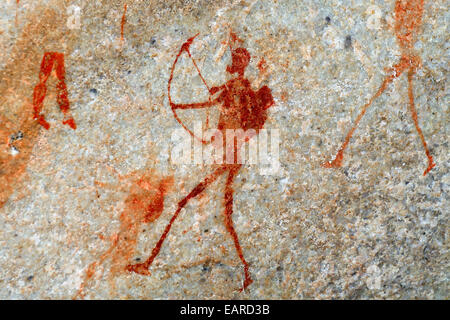 Ancient rock art, drawings of the San people, indigenous people of South Africa, Sevilla Rock Art Trail, Cederberg - Stock Photo