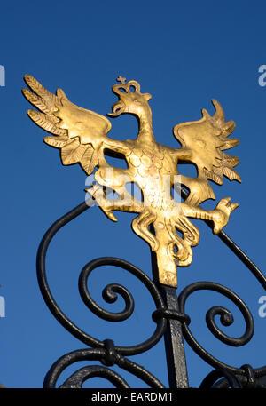 Polish eagle on the Fountain of Neptune, Neptune's Fountain, Gdansk, Pomeranian Voivodeship, Poland - Stock Photo