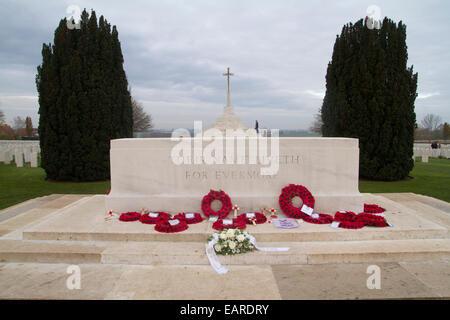 Tyne Cot WW1 cemetery in Belgium - Stock Photo