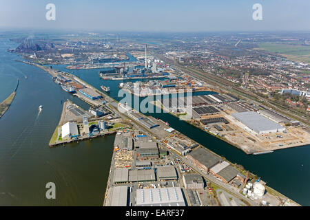 Aerial view, Port of Bremen, harbours on the Weser River, Bremen, Bremen, Germany - Stock Photo